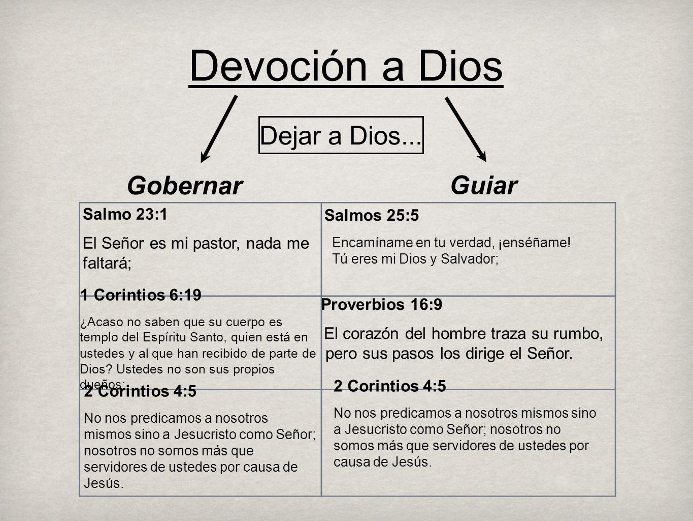 Devoción a Dios Dejar a Dios... Gobernar Guiar Salmo 23:1 Salmos 25:5