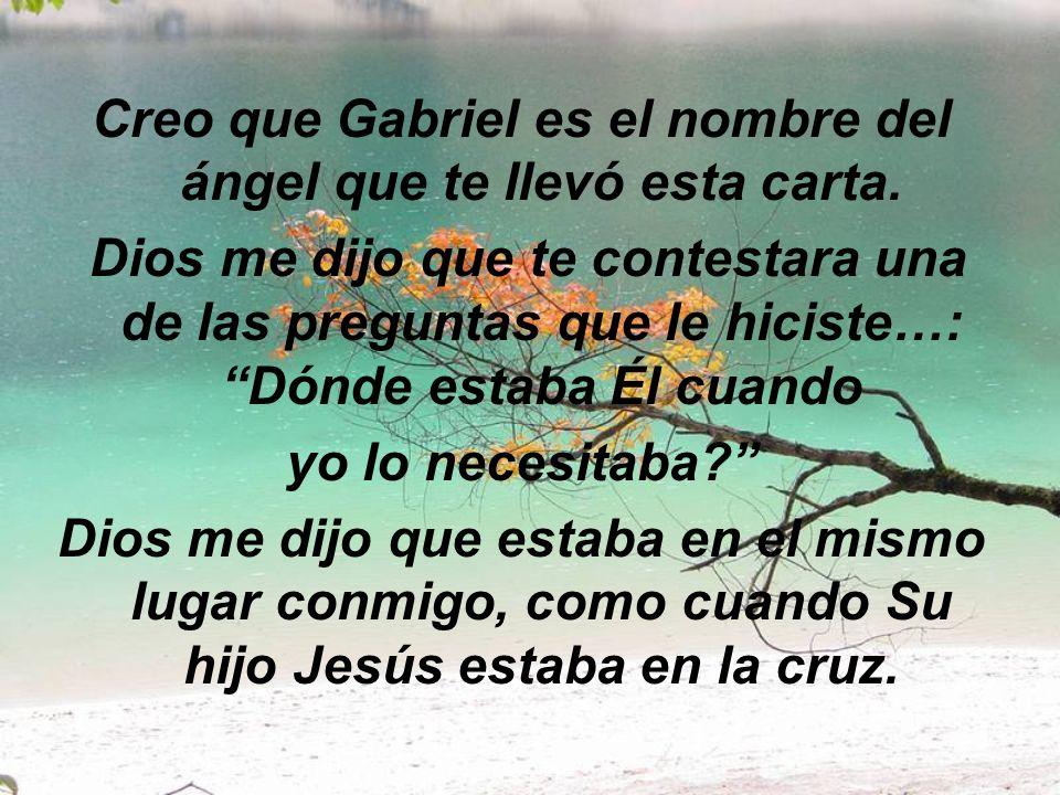 Creo que Gabriel es el nombre del ángel que te llevó esta carta.