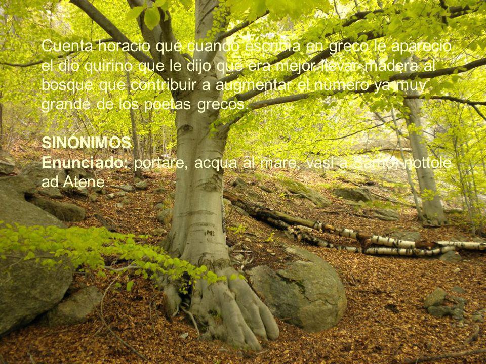 Cuenta horacio que cuando escribìa en greco le apareciò el dio quirino que le dijo que era mejor llevar madera al bosque que contribuir a augmentar el nùmero ya muy grande de los poetas grecos.
