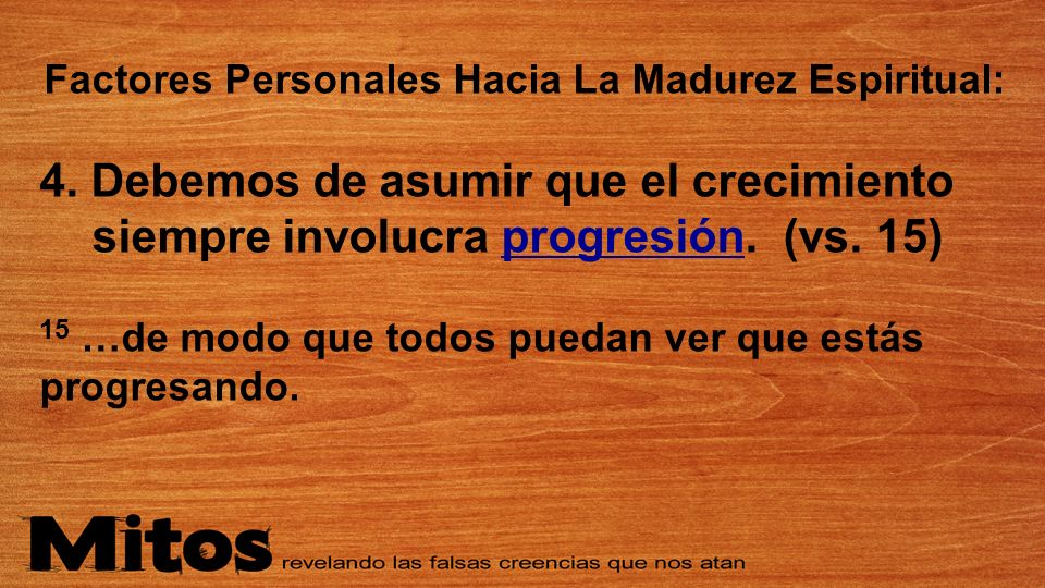 Factores Personales Hacia La Madurez Espiritual: