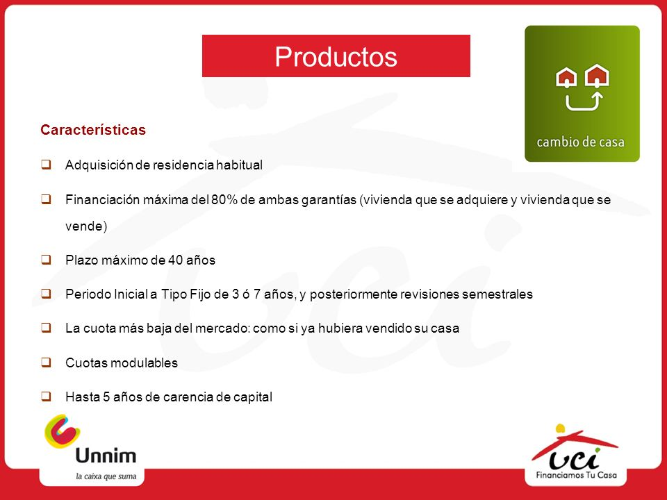 Productos Características Adquisición de residencia habitual