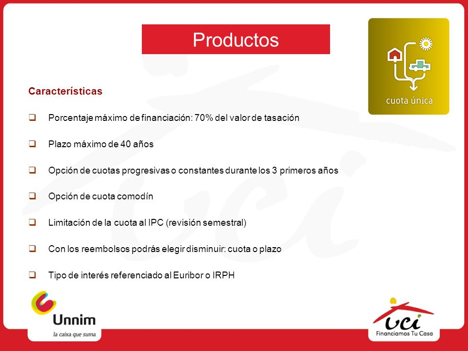Productos Características