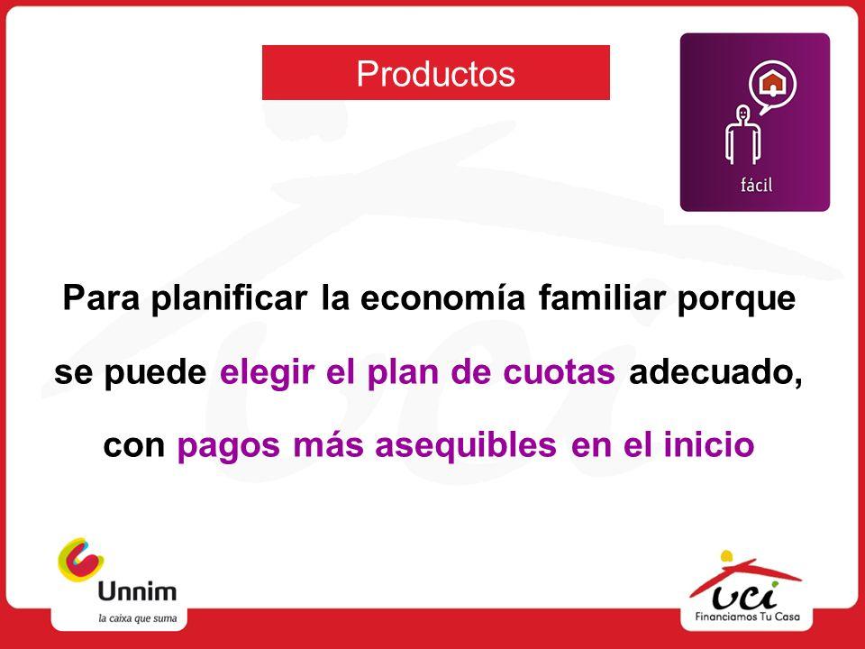 ProductosPara planificar la economía familiar porque se puede elegir el plan de cuotas adecuado, con pagos más asequibles en el inicio.