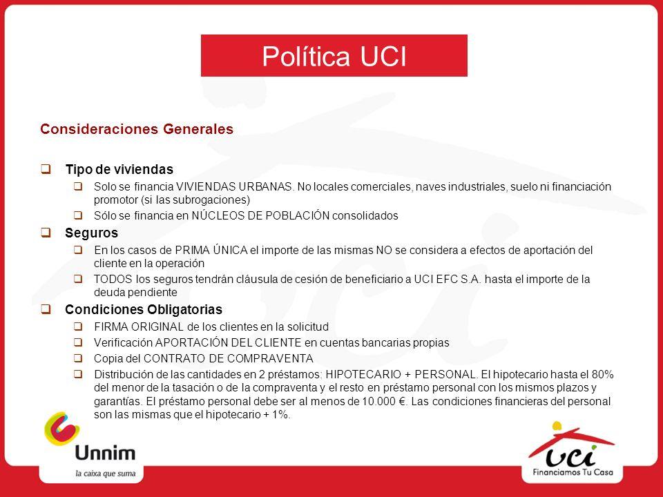 Política UCI Consideraciones Generales Tipo de viviendas Seguros