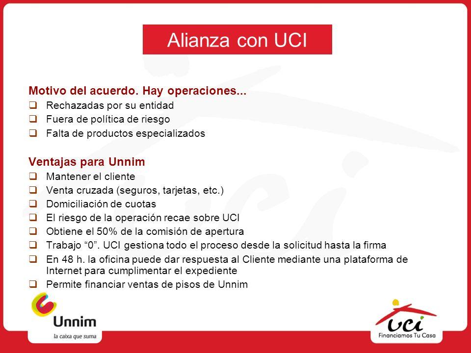 Alianza con UCI Motivo del acuerdo. Hay operaciones...