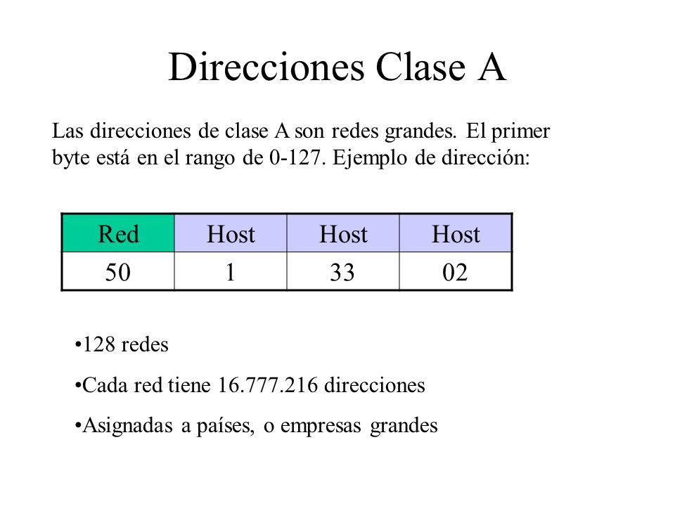 Direcciones Clase A Red Host 50 1 33 02