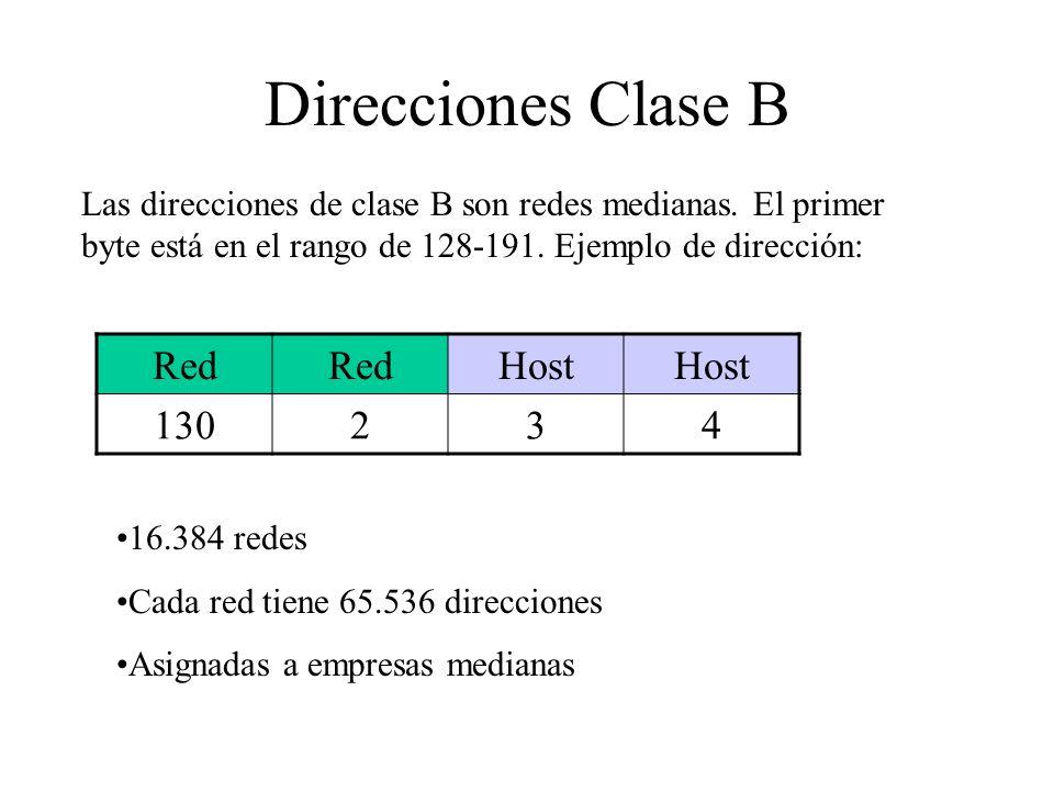 Direcciones Clase B Red Host 130 2 3 4