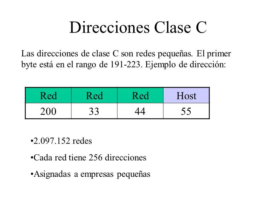 Direcciones Clase C Red Host 200 33 44 55