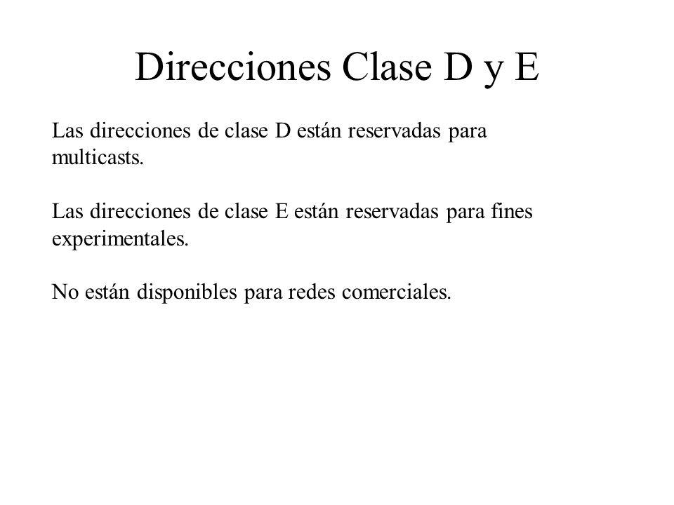 Direcciones Clase D y E Las direcciones de clase D están reservadas para multicasts.