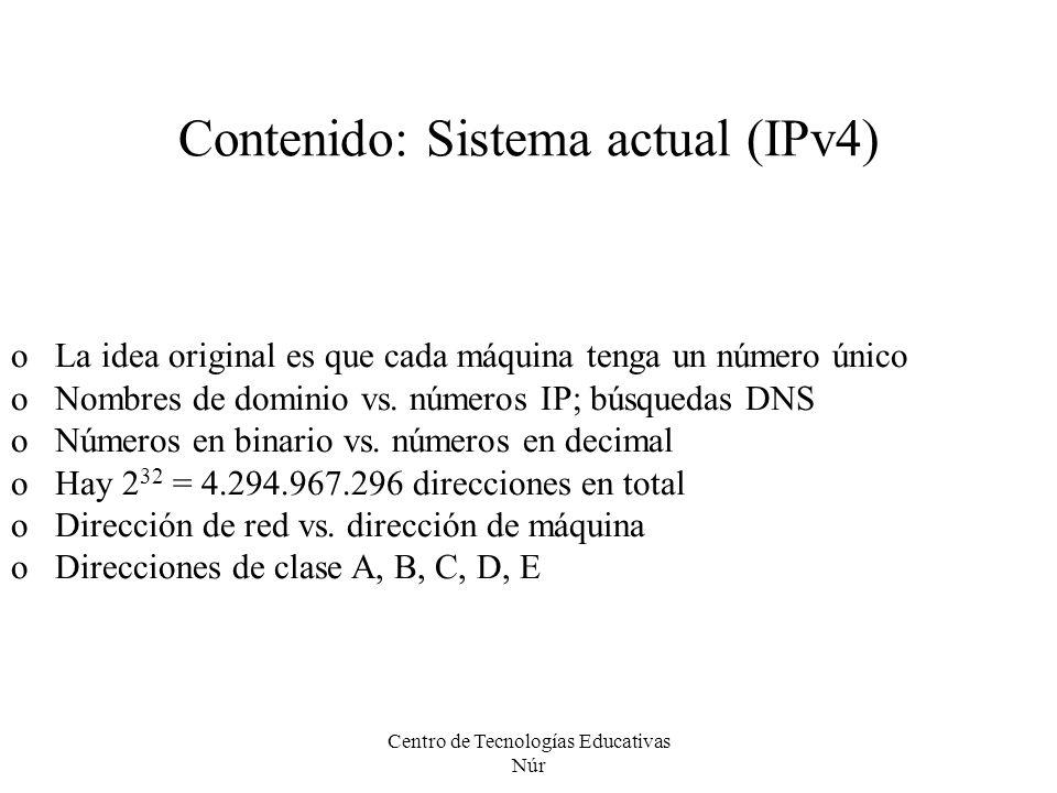 Contenido: Sistema actual (IPv4)