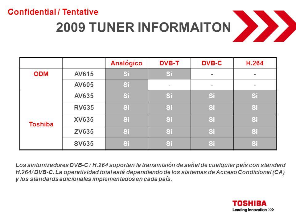 2009 TUNER INFORMAITON Confidential / Tentative Analógico DVB-T DVB-C