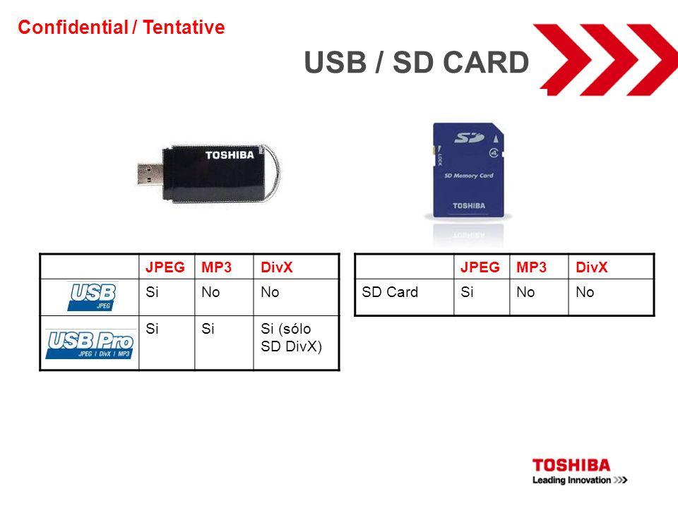 USB / SD CARD Confidential / Tentative JPEG MP3 DivX Si No