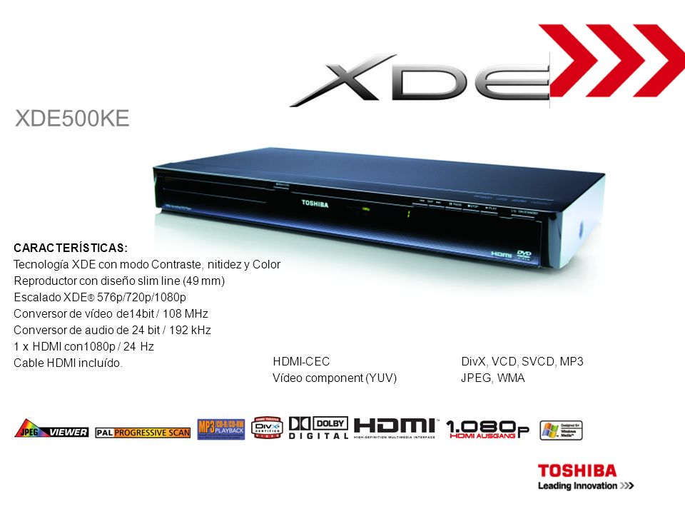 DVD-PLAYER XDE500KE CARACTERÍSTICAS: