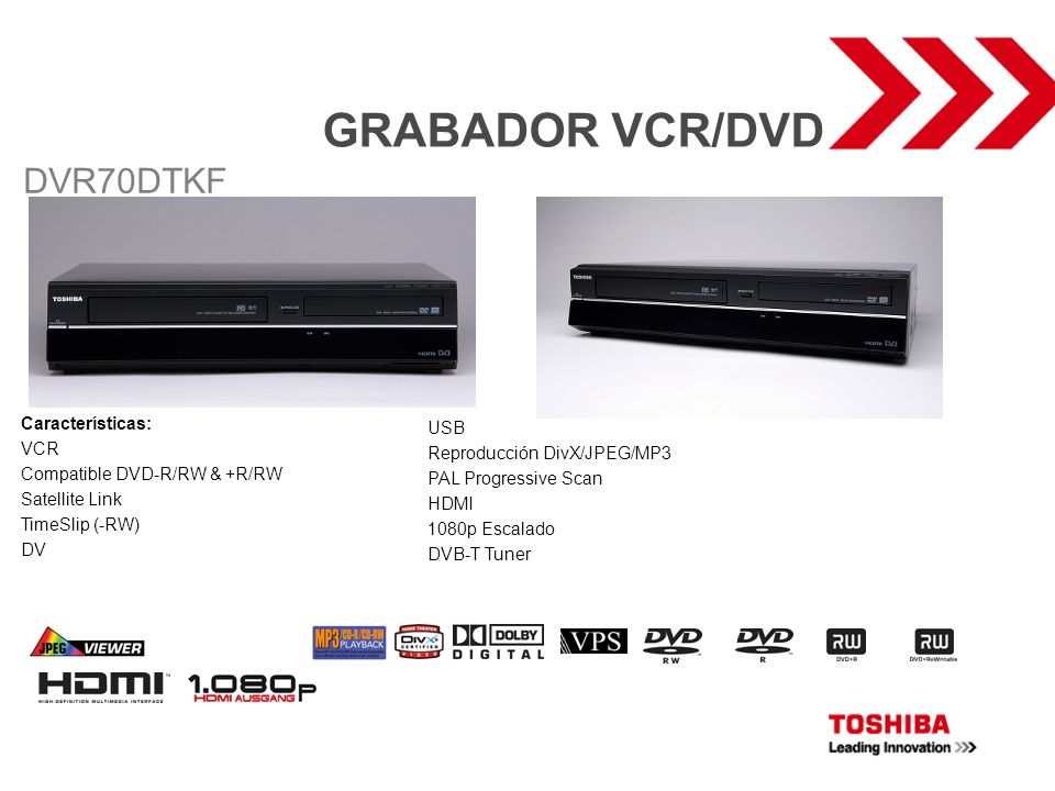 GRABADOR VCR/DVD DVR70DTKF Características: USB VCR