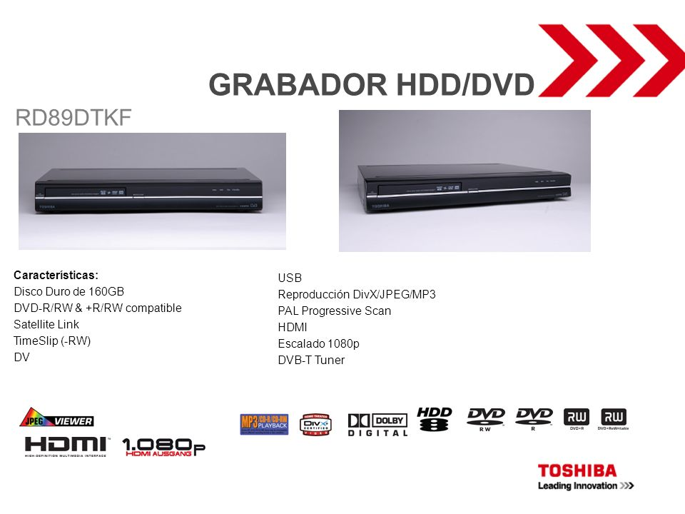 GRABADOR HDD/DVD RD89DTKF Características: USB Disco Duro de 160GB