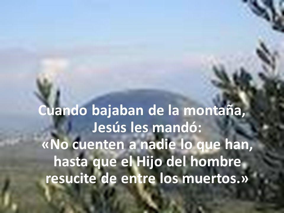 Cuando bajaban de la montaña, Jesús les mandó: «No cuenten a nadie lo que han, hasta que el Hijo del hombre resucite de entre los muertos.»