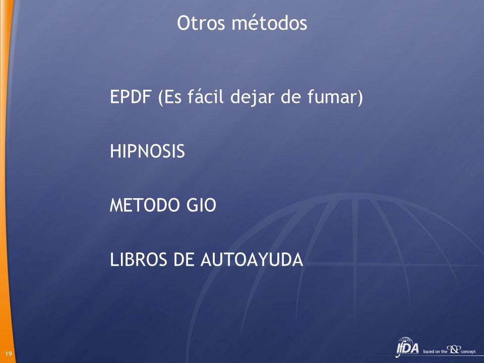 Otros métodos EPDF (Es fácil dejar de fumar) HIPNOSIS METODO GIO