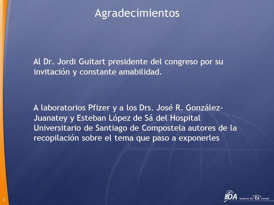 Agradecimientos Al Dr. Jordi Guitart presidente del congreso por su invitación y constante amabilidad.