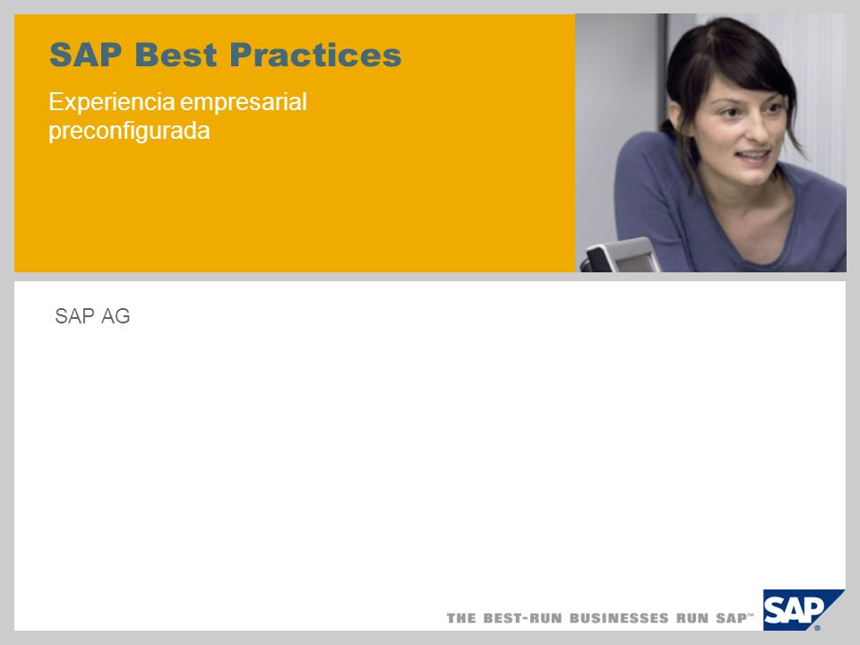 SAP Best Practices Experiencia empresarial preconfigurada