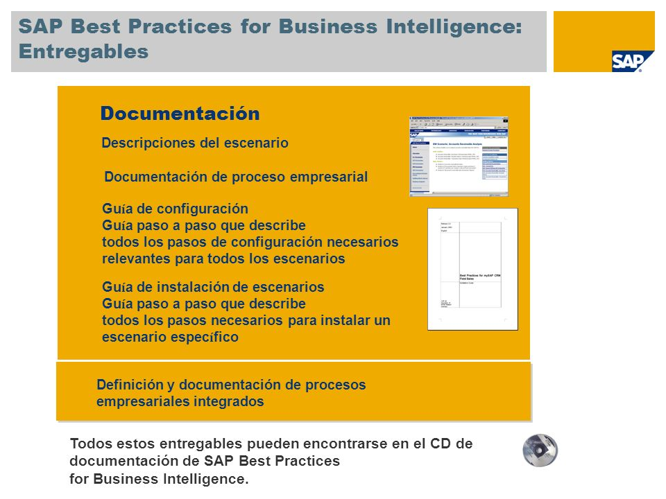 SAP Best Practices for Business Intelligence: Entregables