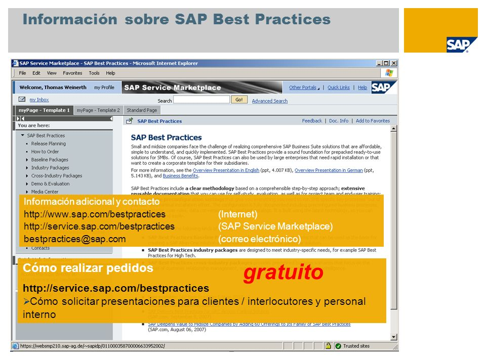Información sobre SAP Best Practices