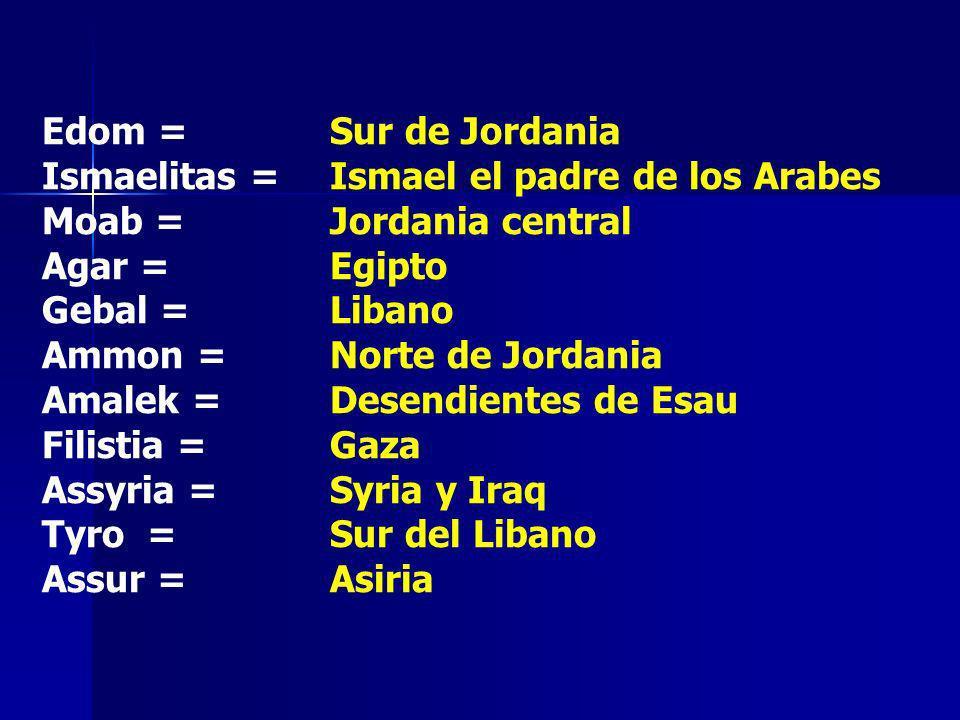 Edom = Sur de JordaniaIsmaelitas = Ismael el padre de los Arabes. Moab = Jordania central. Agar = Egipto.
