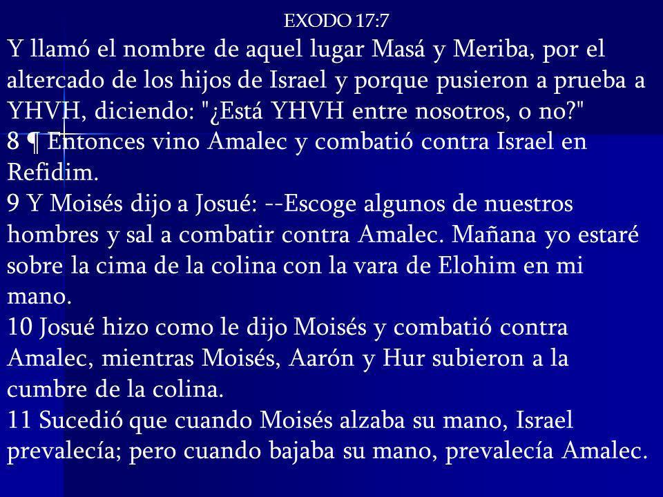 8 ¶ Entonces vino Amalec y combatió contra Israel en Refidim.