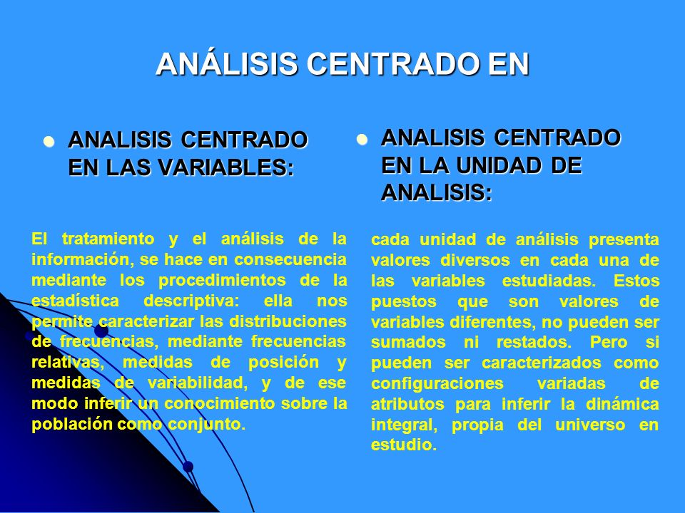 ANÁLISIS CENTRADO EN ANALISIS CENTRADO EN LAS VARIABLES: