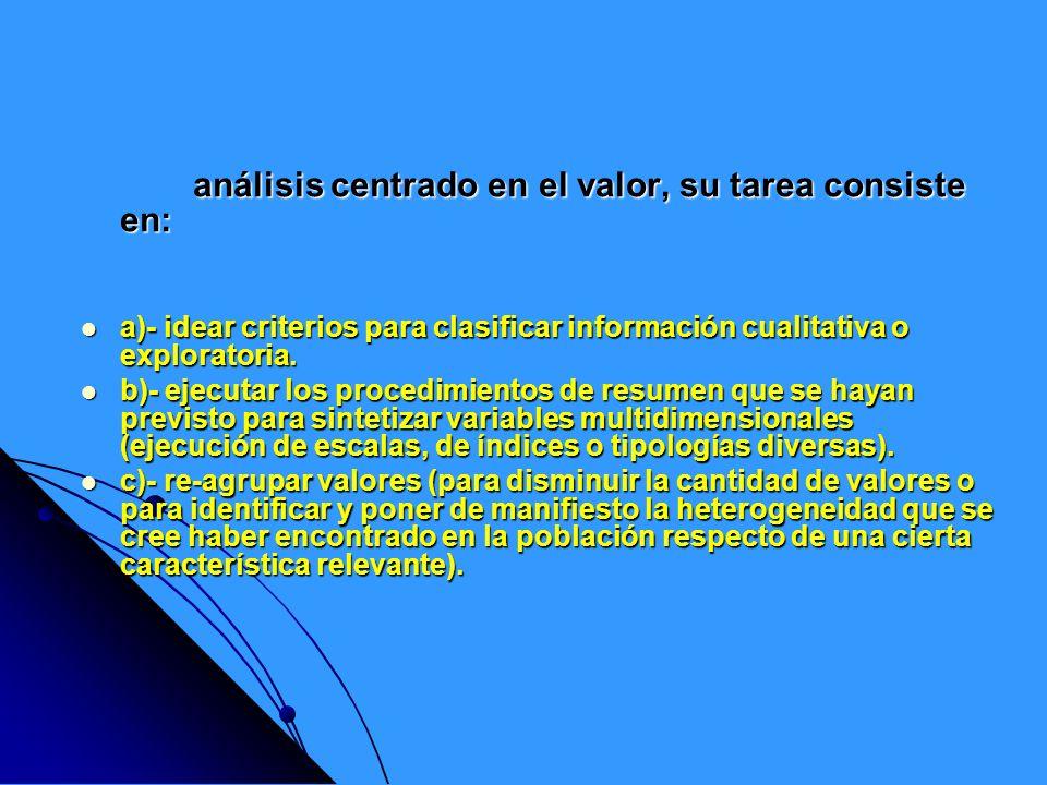 análisis centrado en el valor, su tarea consiste en: