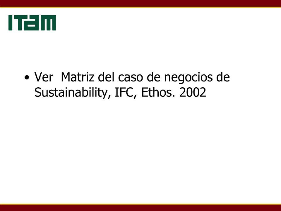 Ver Matriz del caso de negocios de Sustainability, IFC, Ethos. 2002