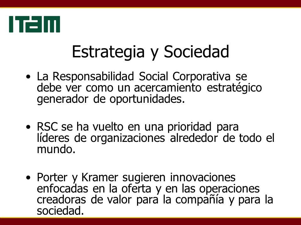 Estrategia y Sociedad La Responsabilidad Social Corporativa se debe ver como un acercamiento estratégico generador de oportunidades.