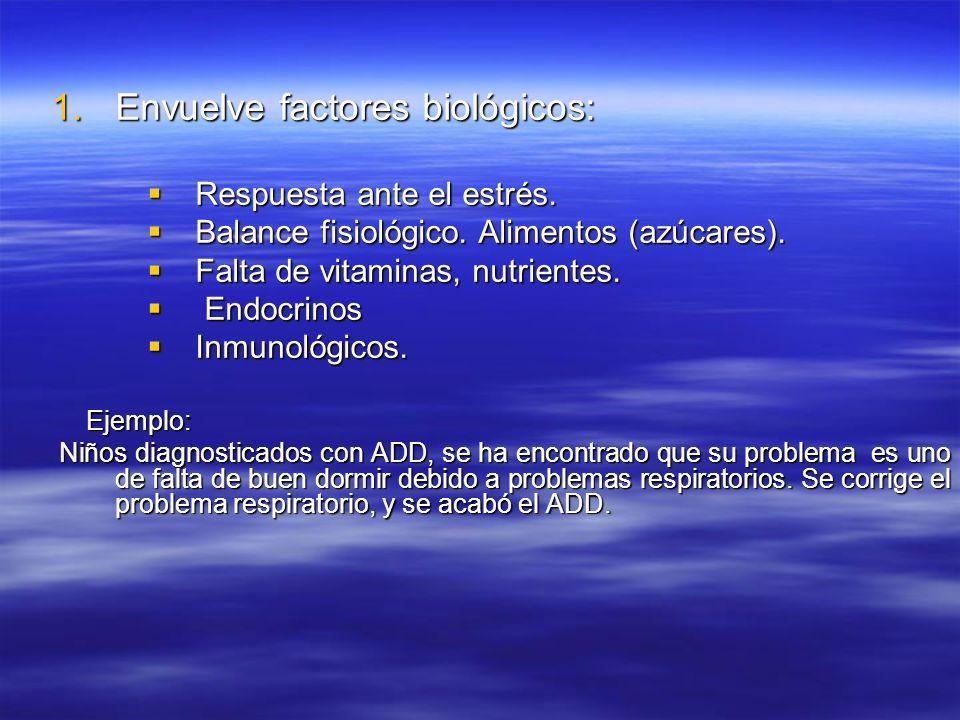 Envuelve factores biológicos: