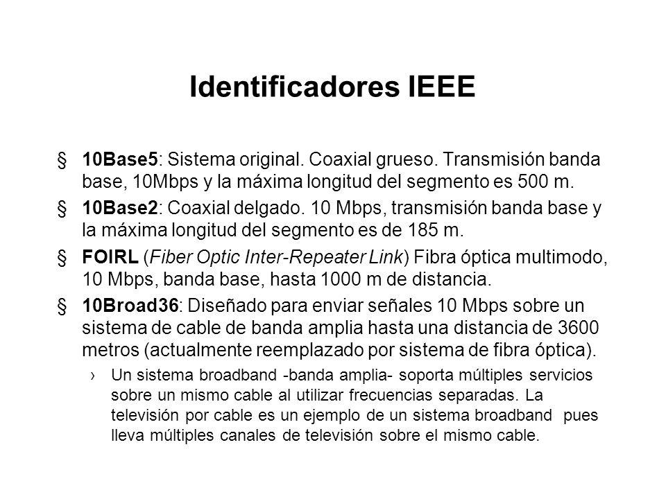 Identificadores IEEE10Base5: Sistema original. Coaxial grueso. Transmisión banda base, 10Mbps y la máxima longitud del segmento es 500 m.
