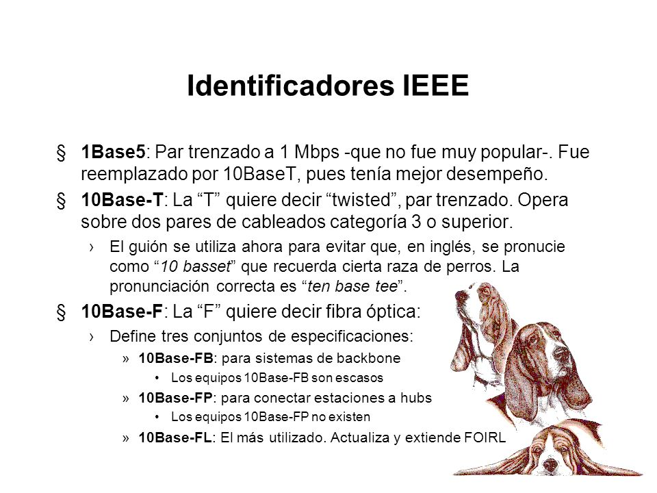 Identificadores IEEE 1Base5: Par trenzado a 1 Mbps -que no fue muy popular-. Fue reemplazado por 10BaseT, pues tenía mejor desempeño.