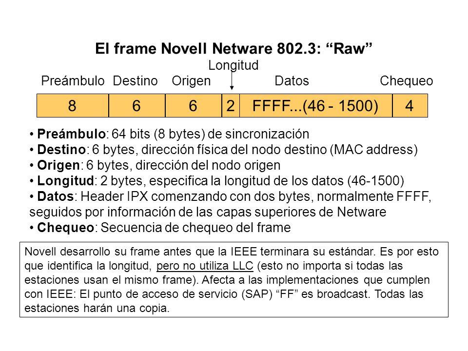 El frame Novell Netware 802.3: Raw