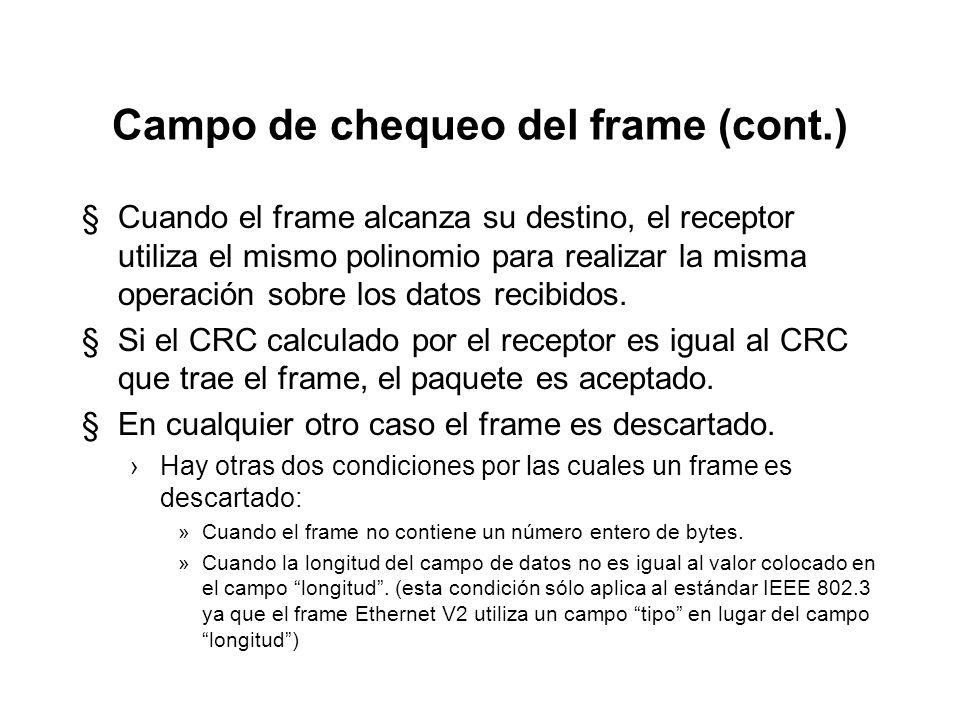 Campo de chequeo del frame (cont.)