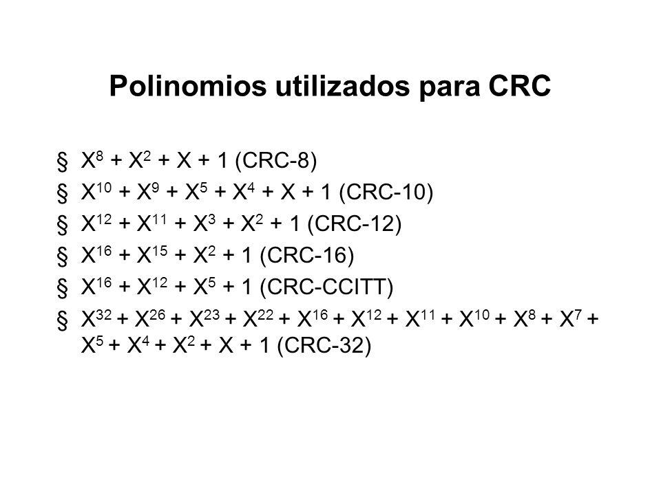 Polinomios utilizados para CRC