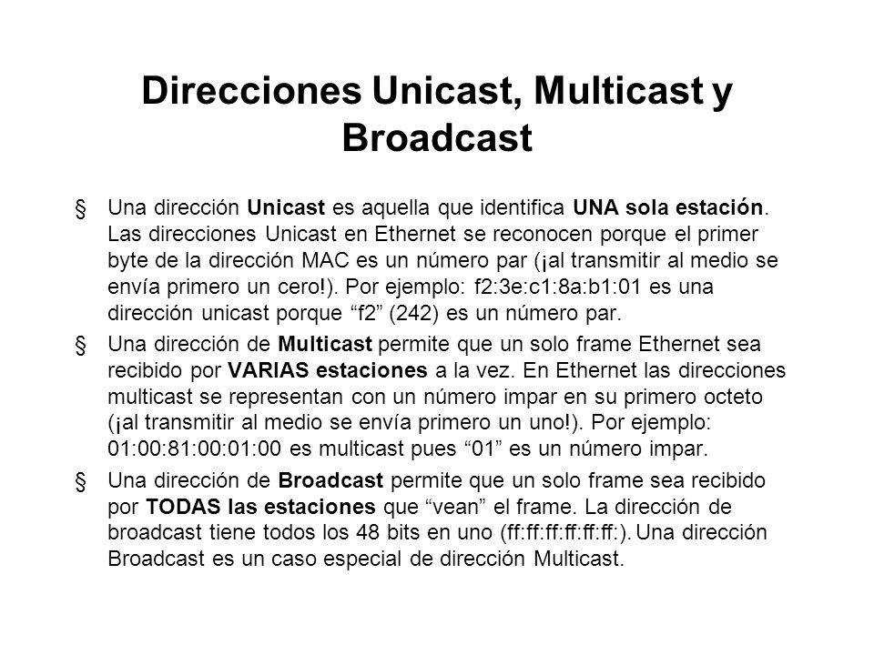 Direcciones Unicast, Multicast y Broadcast