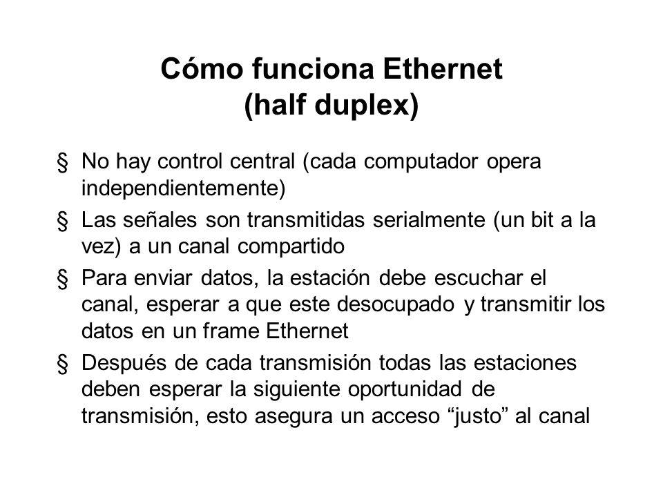 Cómo funciona Ethernet (half duplex)