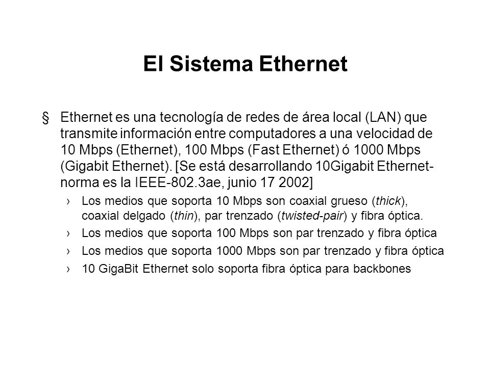 El Sistema Ethernet