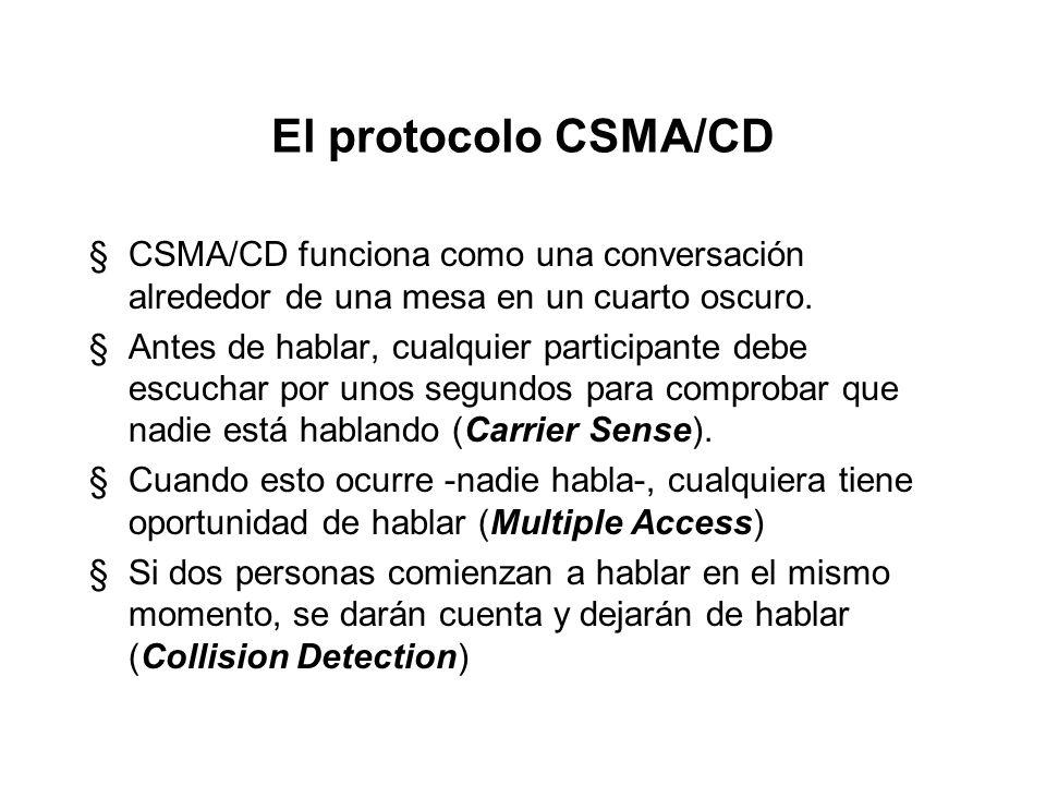 El protocolo CSMA/CD CSMA/CD funciona como una conversación alrededor de una mesa en un cuarto oscuro.