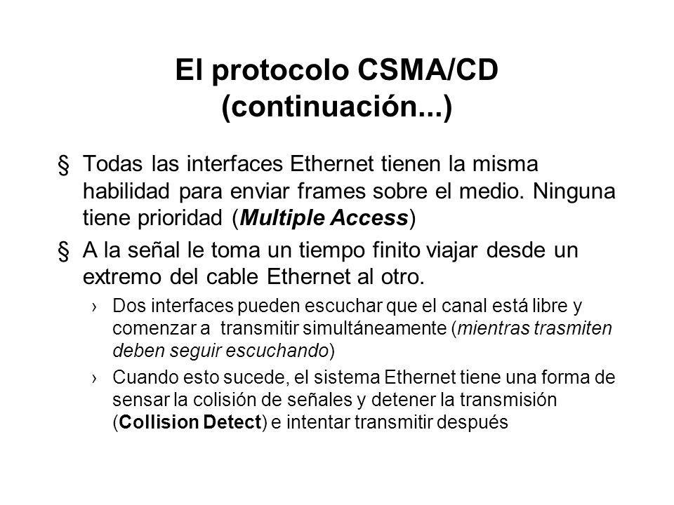 El protocolo CSMA/CD (continuación...)