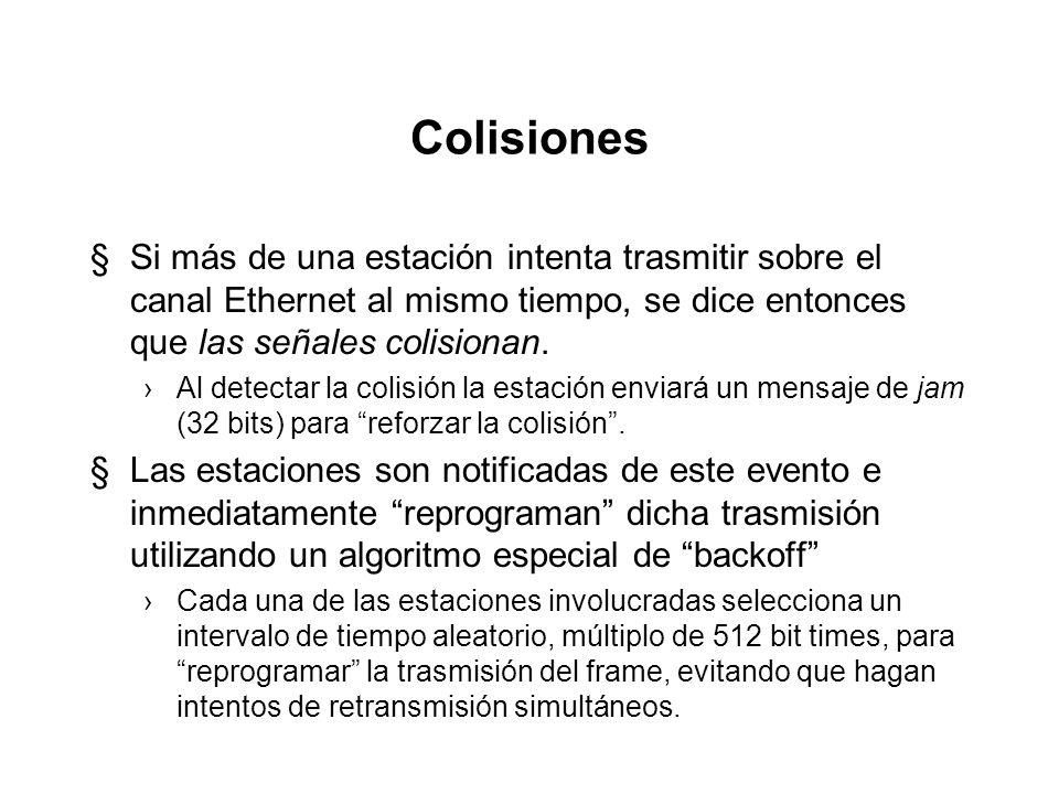 Colisiones Si más de una estación intenta trasmitir sobre el canal Ethernet al mismo tiempo, se dice entonces que las señales colisionan.