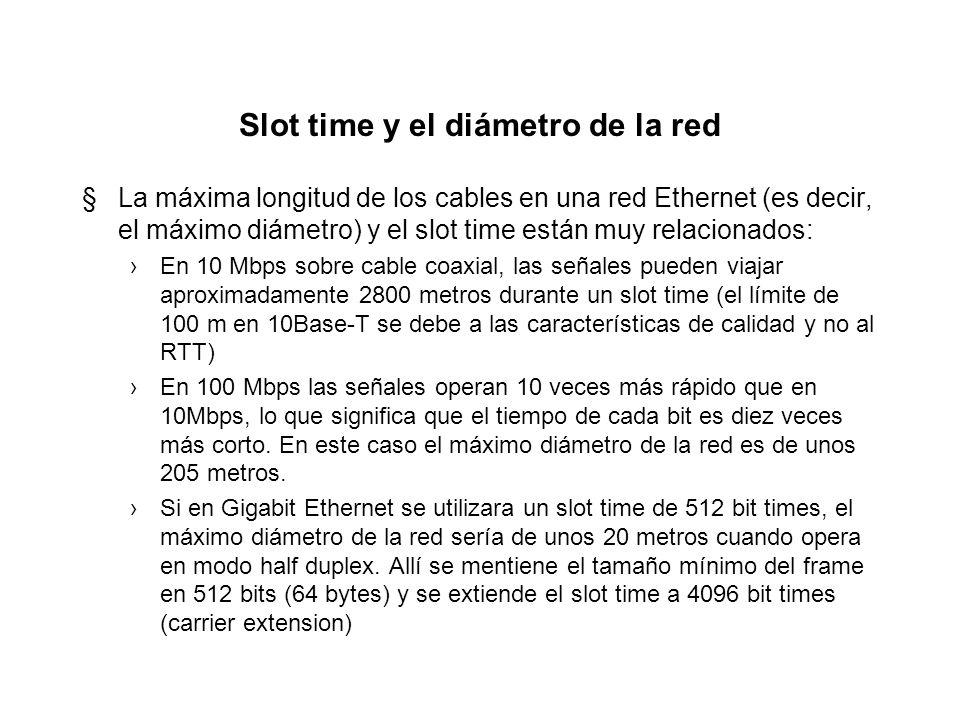 Slot time y el diámetro de la red