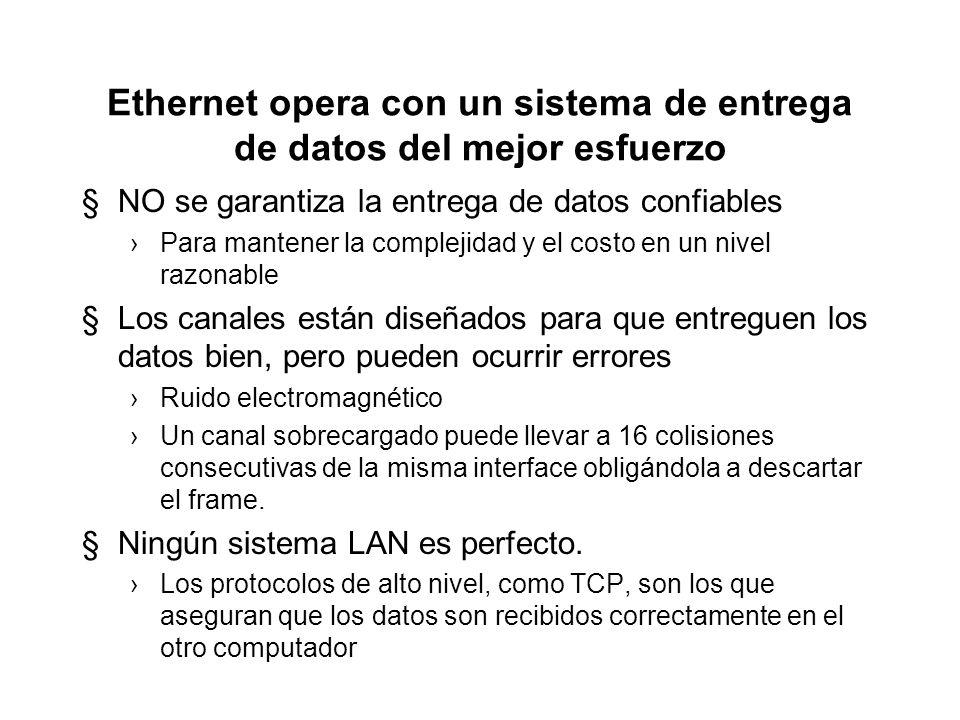 Ethernet opera con un sistema de entrega de datos del mejor esfuerzo