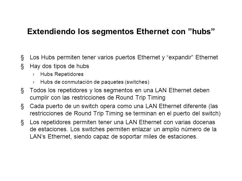Extendiendo los segmentos Ethernet con hubs