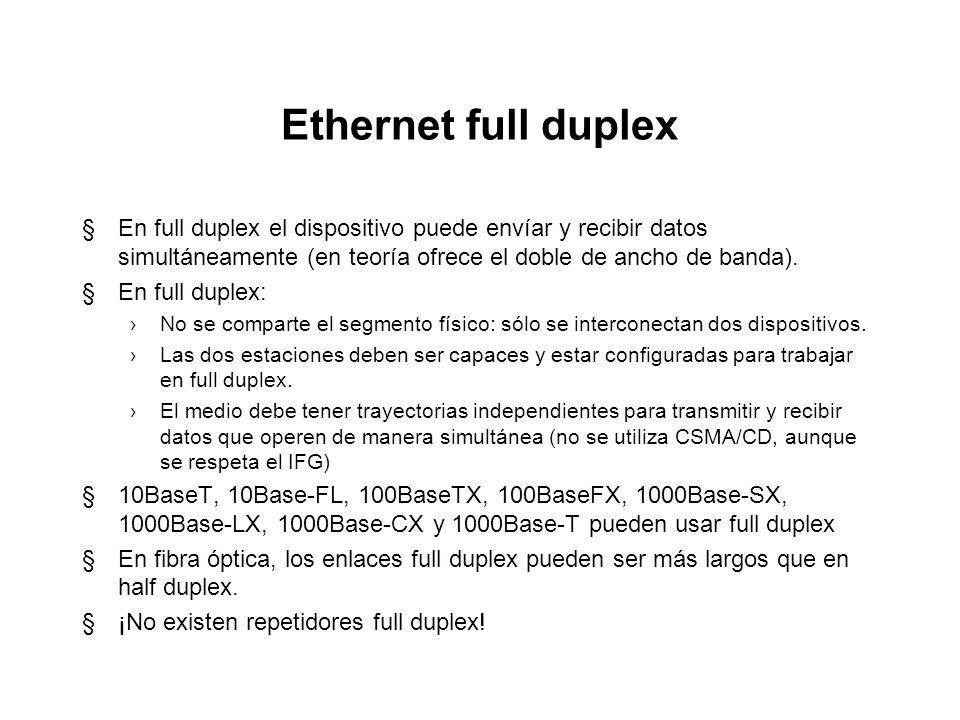 Ethernet full duplex En full duplex el dispositivo puede envíar y recibir datos simultáneamente (en teoría ofrece el doble de ancho de banda).