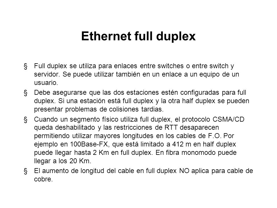 Ethernet full duplex