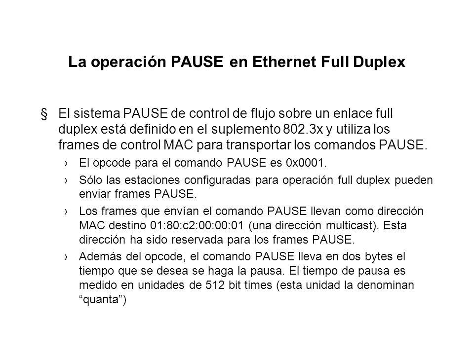 La operación PAUSE en Ethernet Full Duplex