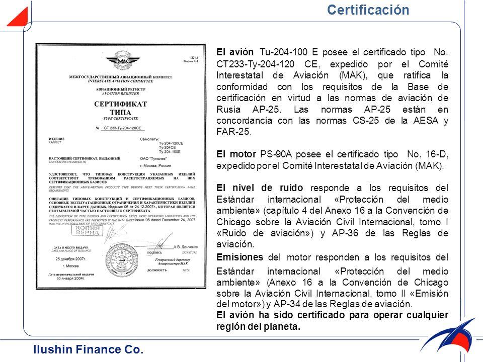 Certificación Ilushin Finance Cо.